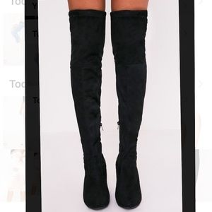 prettylittlething thigh high black boots size8
